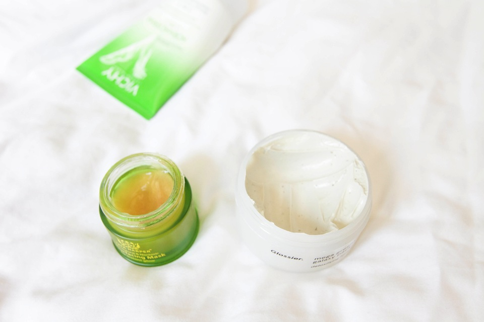tata harper resurfacing mask and glossier mega greens galaxy pack mask
