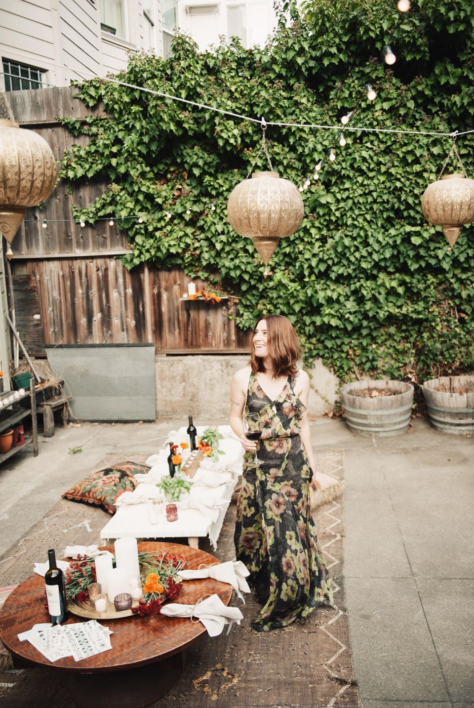 bohemian backyard fall dinner party