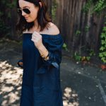 tibi off the shoulder chambray dress