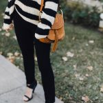 black white striped fall sweater