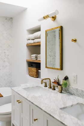 master bath room before + after
