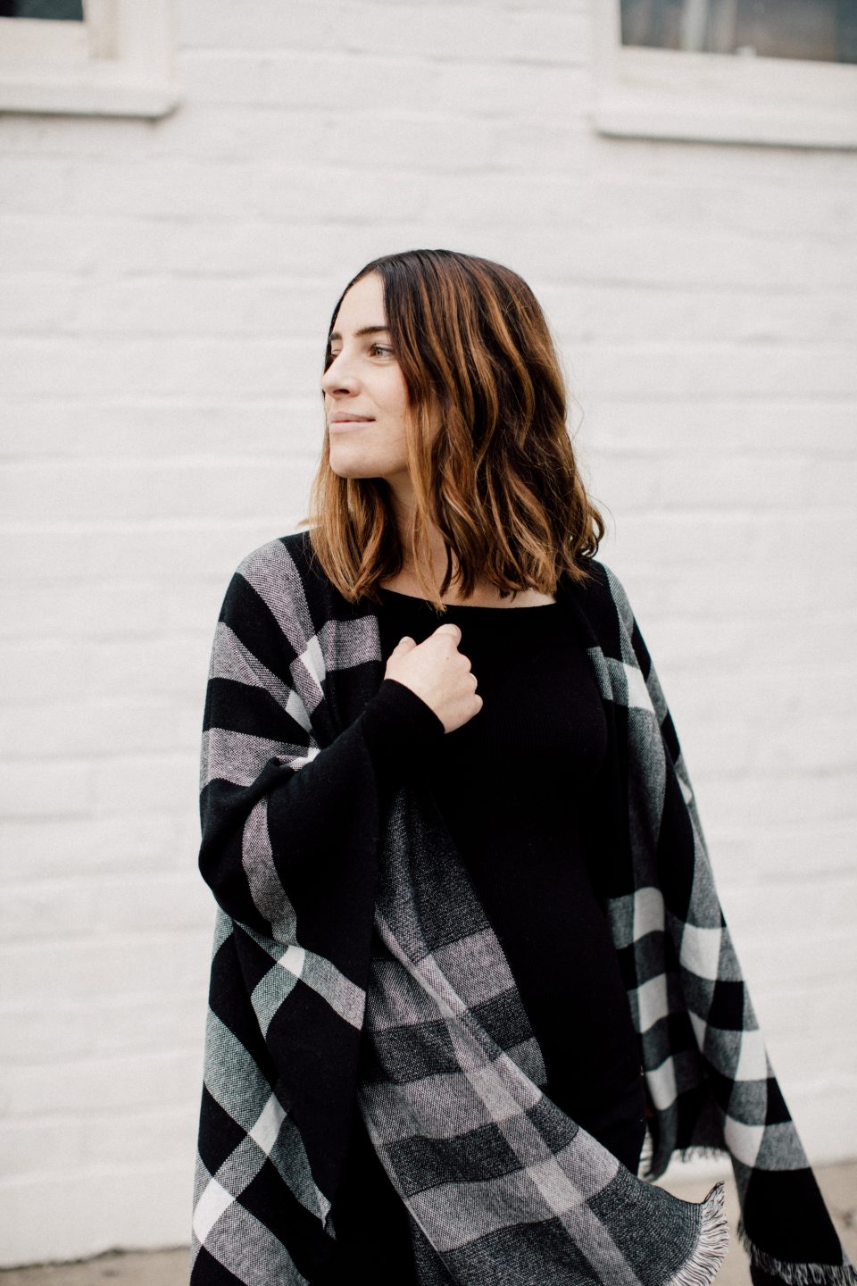 black and white plaid splendid wrap