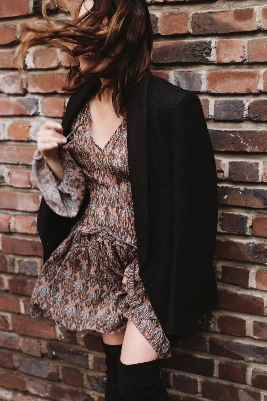 fall style: isabel marant blazer, iro dress