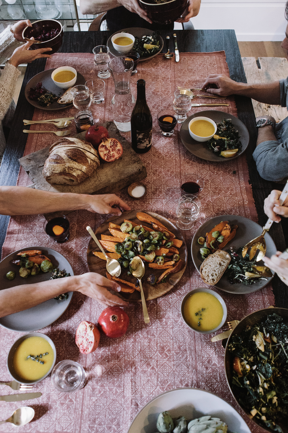 a rainy friendsgiving fall feast at home
