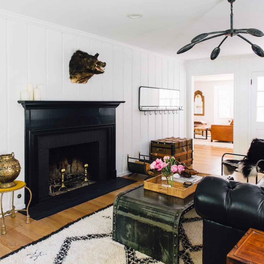 black fireplace office renovation