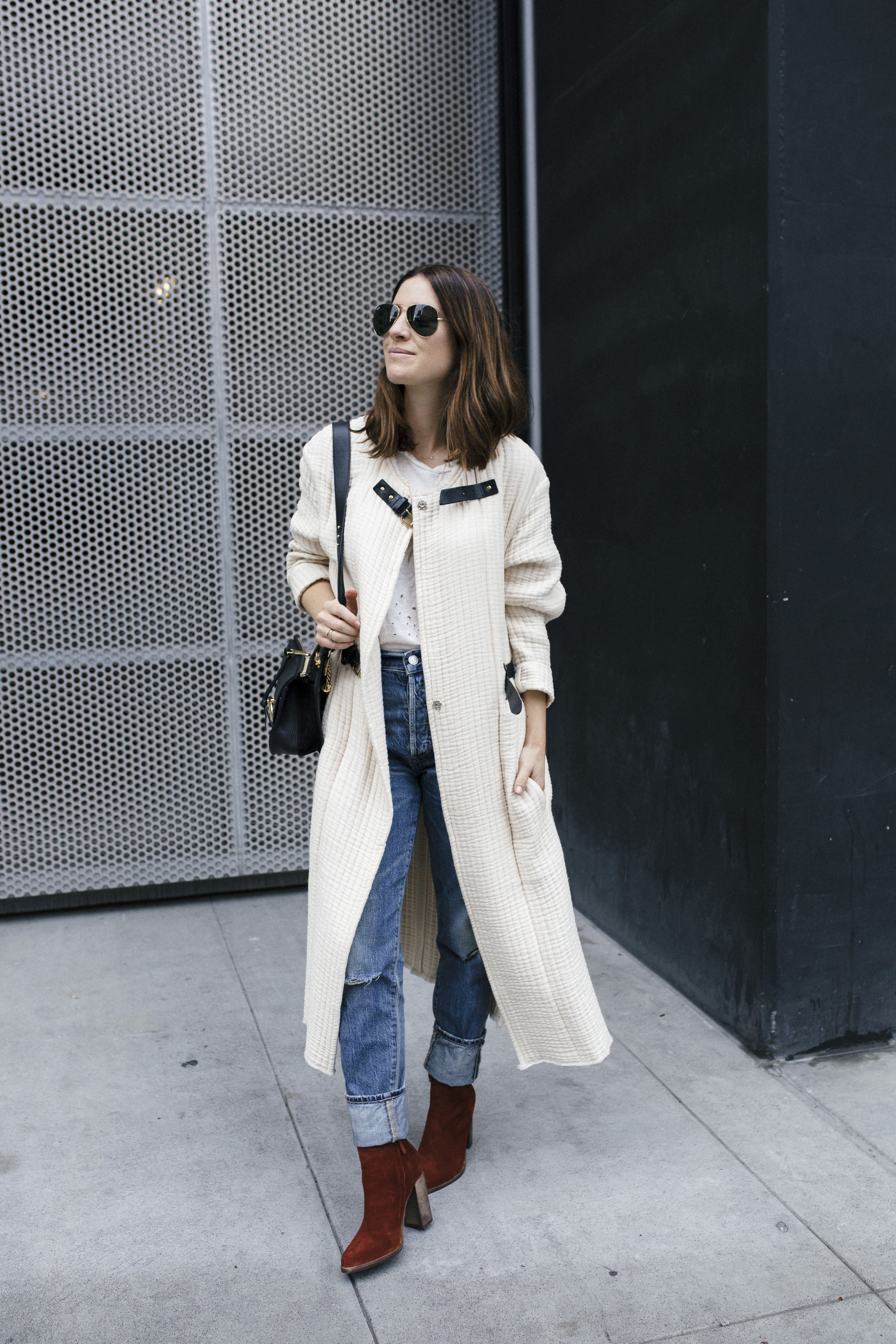 winter style: white coat blue jeans