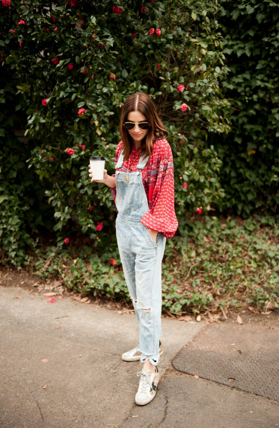 ulla johnson blouse and overalls