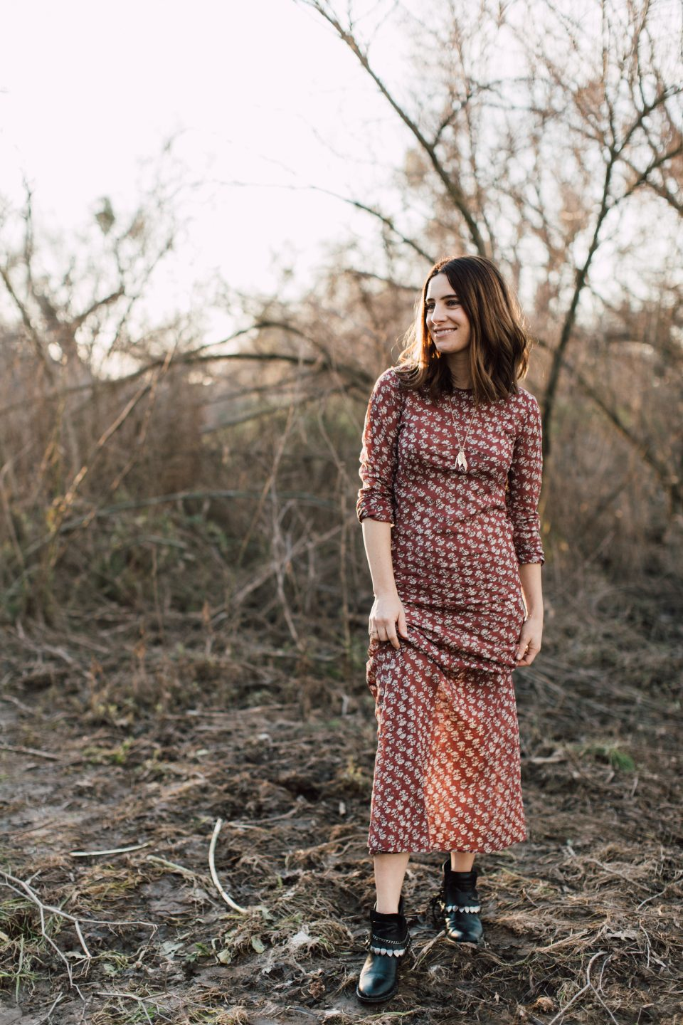 an effortless maxi dress from Doen for fall