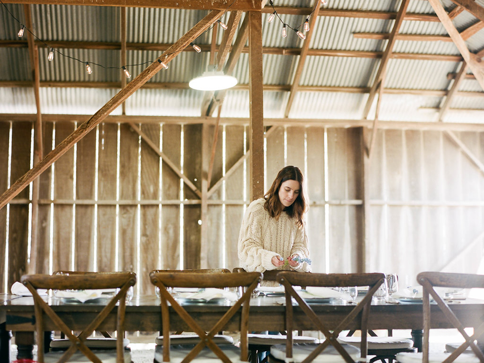 a styled almond orchard barn luncheon
