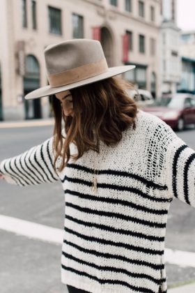the perfect slouchy striped black and white sweater
