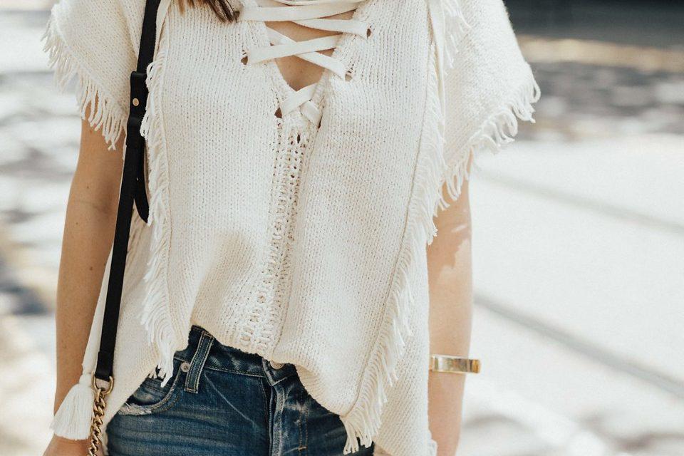 pam and gela fringe baja sweater