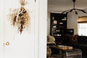 diy seasonal floral door swag